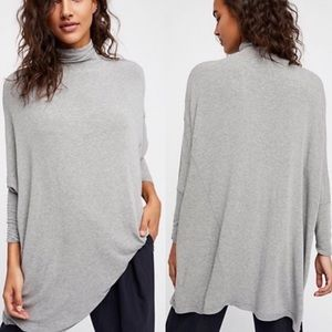 Free People Grey Terry Turtleneck Sweater Small